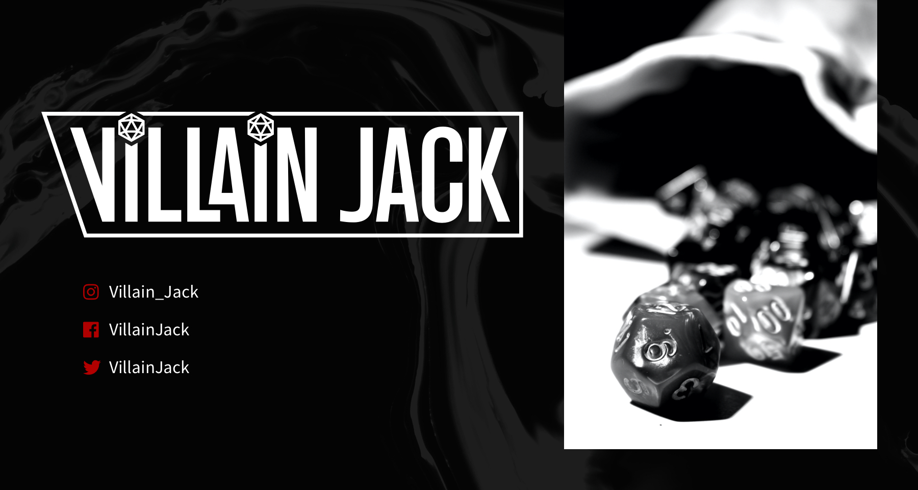Villain Jack Header with dice in a dice bag